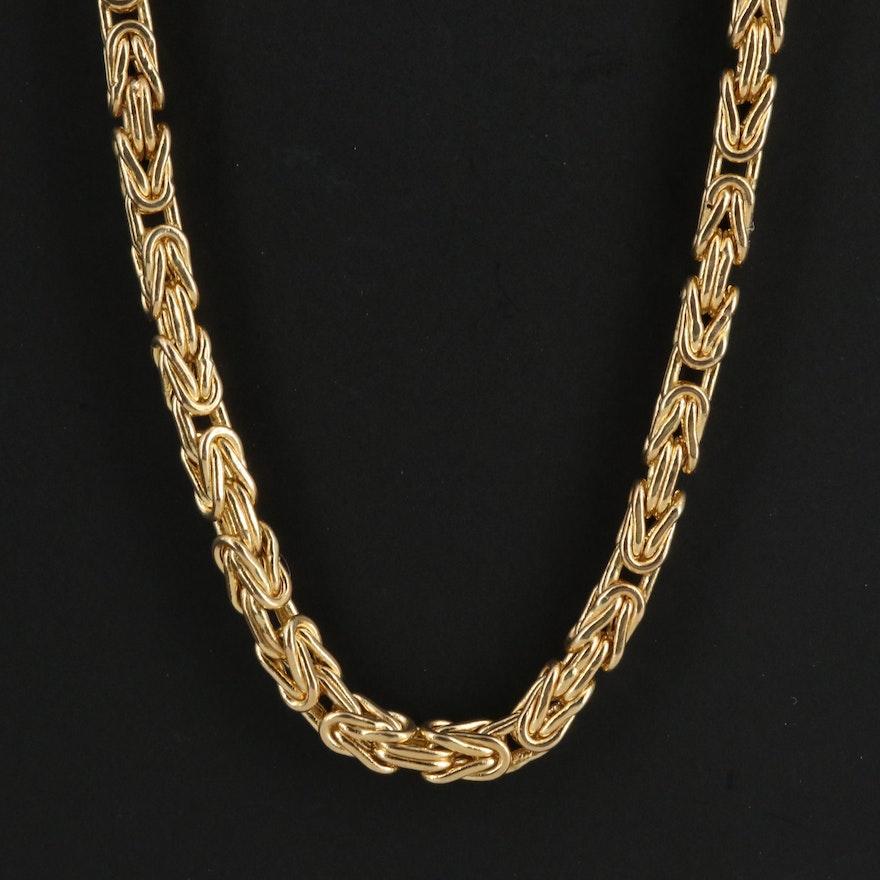 10K Square Byzantine Chain Necklace