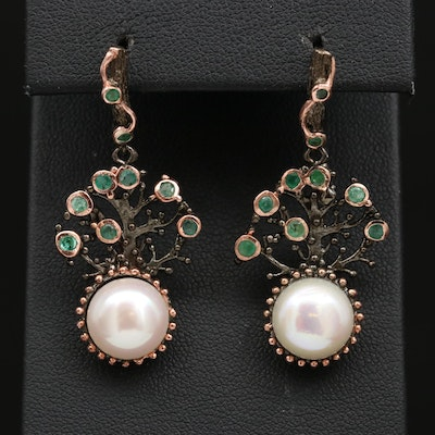 Sterling Silver Pearl and Emearld Tree Motif Earrings