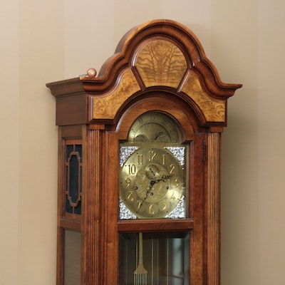 Howard Miller Westminster Chime Oak & Burl Grandfather Clock