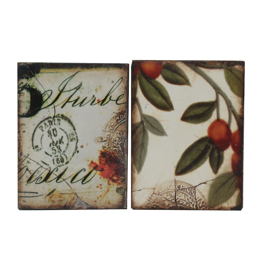 """Sid Dickens """"Plums"""" and """"Postmark"""" Memory Block, Contemporary"""