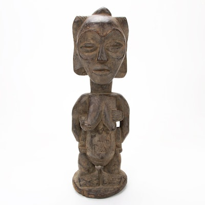 Luba Stlye Hand-Carved Wood Maternity Figure, Central Africa