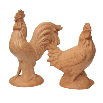 Terracotta Clay Mix Rooster and Hen Statues