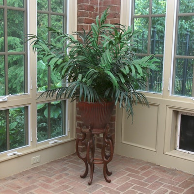 Ceramic Potted Artificial Plant on Hand-Carved Teak Plant Stand