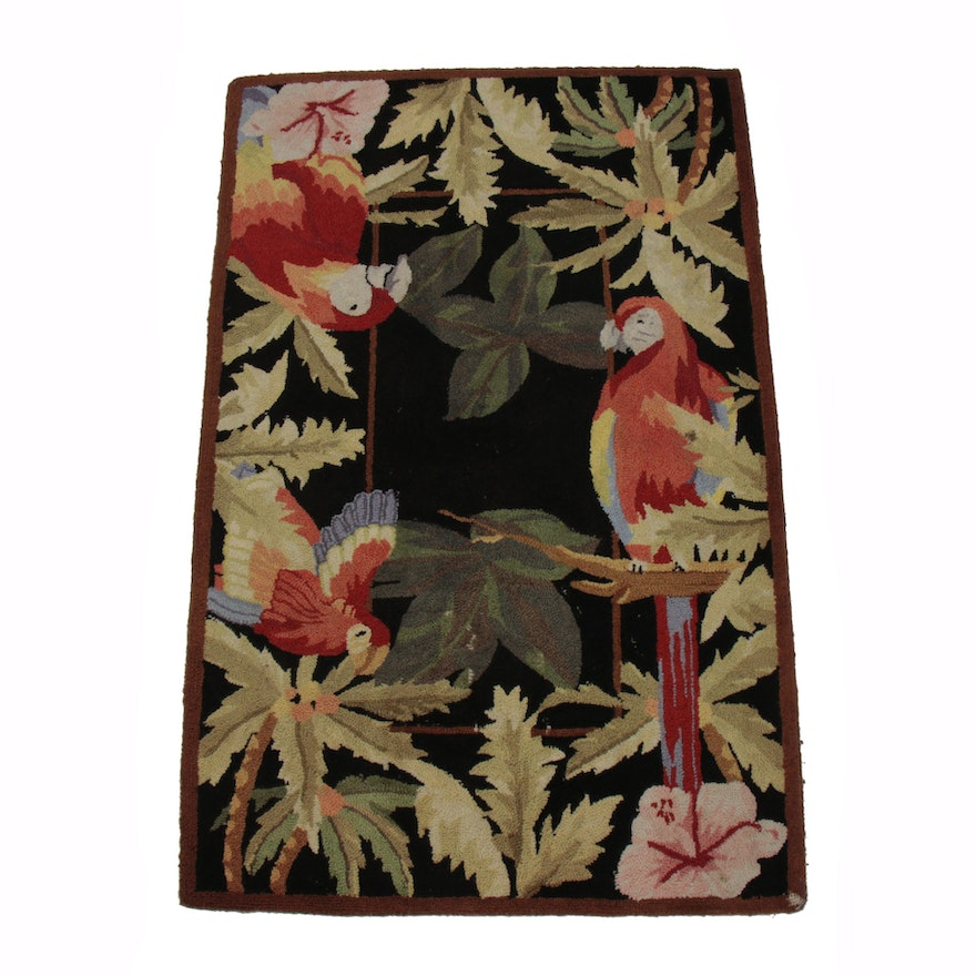 2'7 x 4' Hand-Hooked Parrot and Tropical Plant Motif Accent Rug