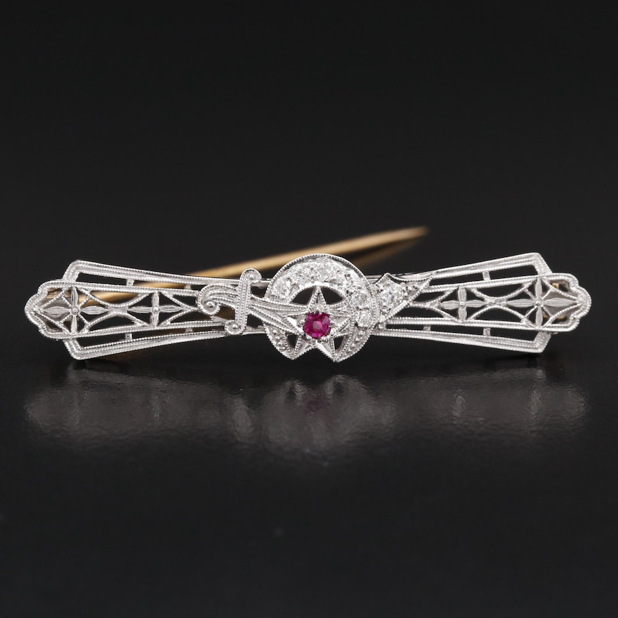 Platinum and 14K Ruby and Diamond Shriner's Emblem Bar Brooch