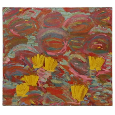 Jerald Mironov Abstract Oil Painting of Water Lilies