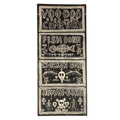 """G. Eggleston Folk Art Acrylic Painting """"Voodoo Cemetery,"""" 21st Century"""