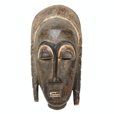 Baule Style Carved Wooden Mask, Côte d'Ivoire