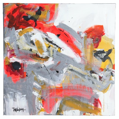 "Robbie Kemper Abstract Acrylic Painting ""Silver & Bright Orange"""