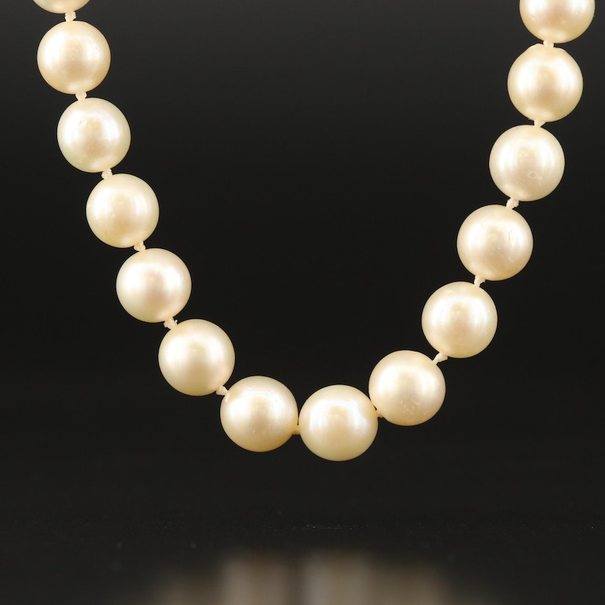 Pearl Necklace with 10K and 14K Clasp