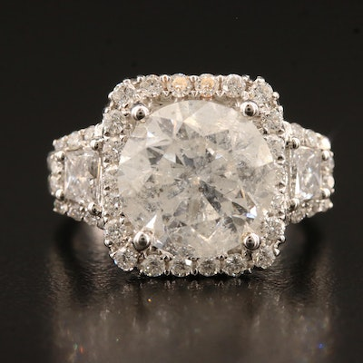 18K 6.30 CTW Diamond Ring with 5.03 CT Center