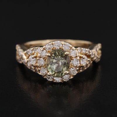 14K 1.47 CT Alexandrite and Diamond Halo Twist Shank Ring