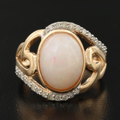 Sterling Silver Opal and Diamond Openwork Ring