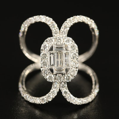 18K 1.53 CTW Diamond Ring with Open Shoulders