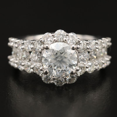 Platinum 3.56 CTW Diamond Halo Ring