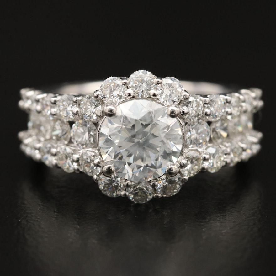 Platinum 3.56 CTW Diamond Halo Ring