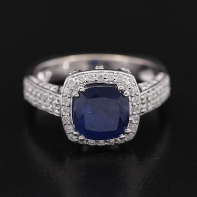 18K 2.13 CT Sapphire and Diamond Ring with Euro Shank