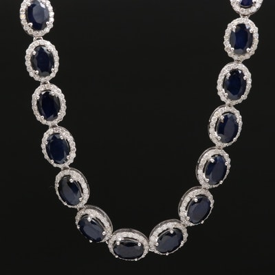 14K Sapphire and 6.32 CTW Diamond Halo Necklace