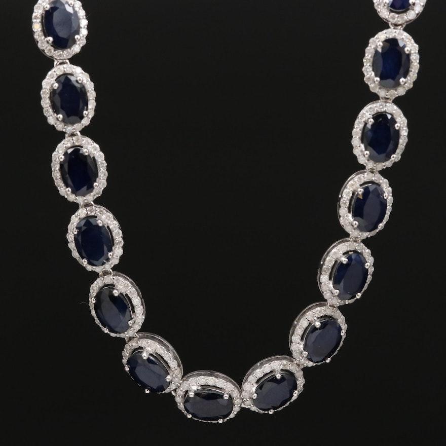 14K Sapphire and 6.32 CTW Diamond Halo Necklace