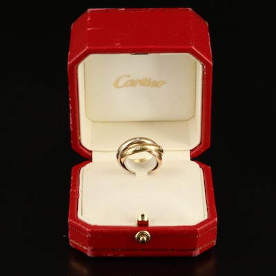 Cartier 18K Tri-Color Gold Diamond Rolling Ring with Box and Certificate