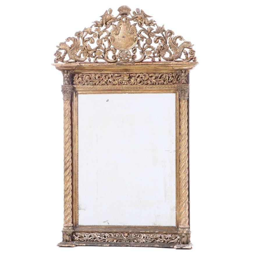"Portuguese Baroque ""Eye of Providence"" Giltwood Mirror, Circa 1780"