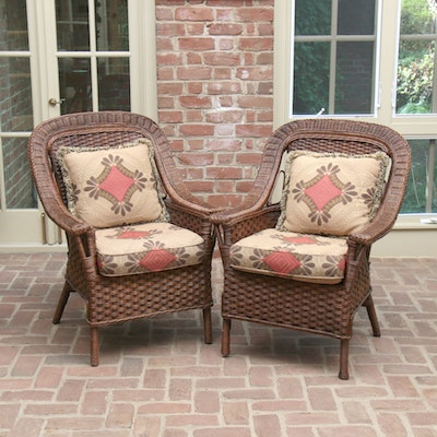 "Pair of Lexington ""Smithsonian"" Victorian Style Wicker Armchairs"