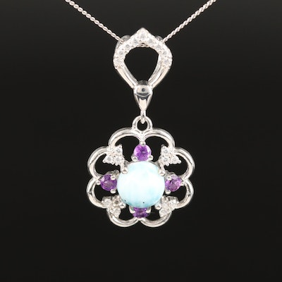 Sterling Beryl, Amethyst and Cubic Zirconia Necklace
