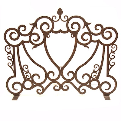 Aged Iron Scrolling Fireplace Screen with Shield Insert