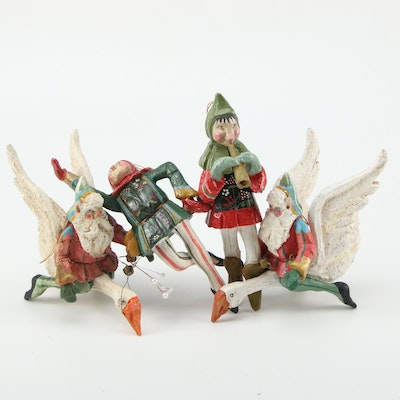 House of Hatten Hand Painted Resin Santa Claus and Elves Christmas Ornaments