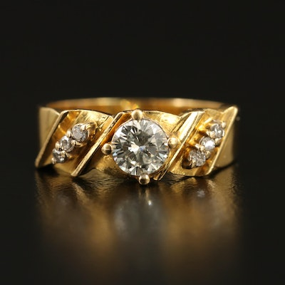 18K Diamond Twisted Ring