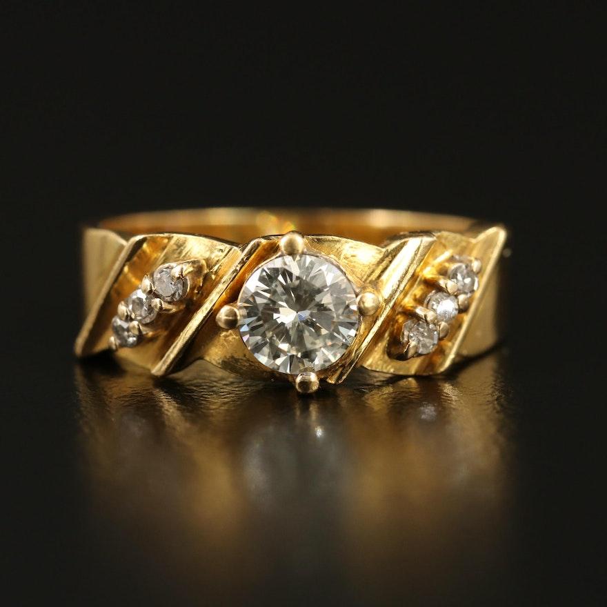 18K Diamond Twisted Ring