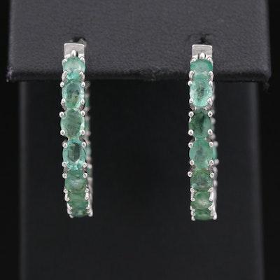 Sterling Silver Emerald Inside Out Hoop Earrings