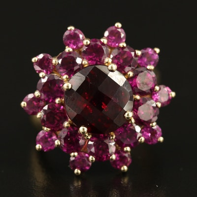 10K Garnet and Rhodolite Garnet Flower Motif Ring