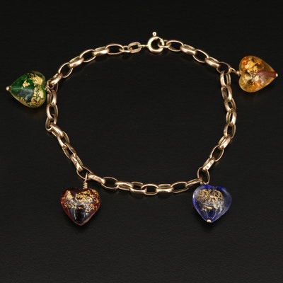 14K Bracelet with Multi-Colored Heart Charms