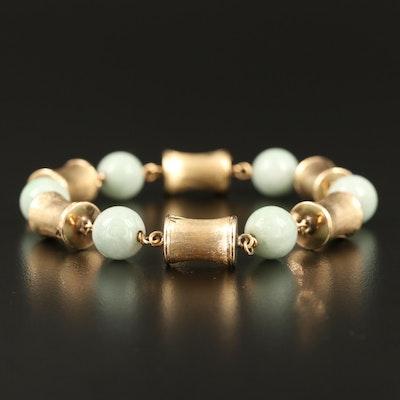 Vintage 14K Jadeite Bamboo Motif Link Bracelet