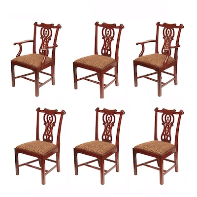 Set of Six Baker Chippendale Style Mahogany Stain Dining Chairs