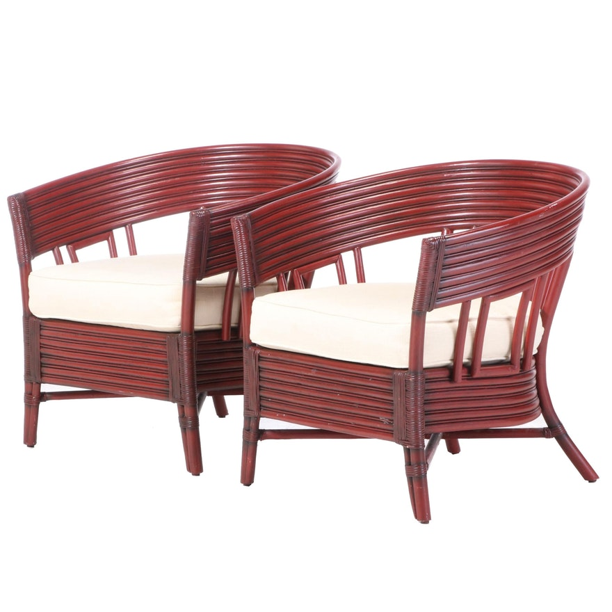 Pier 1 Imports Indonesian Barrel Back Rattan Cushioned Armchairs