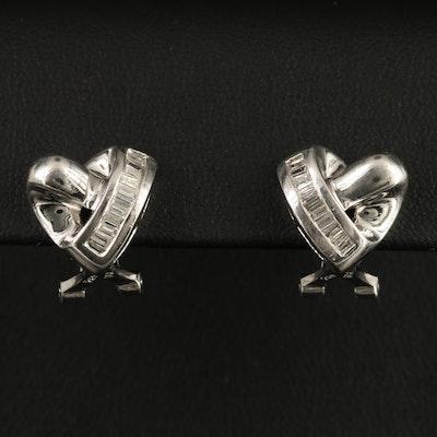 18K Diamond Heart Motif Earrings