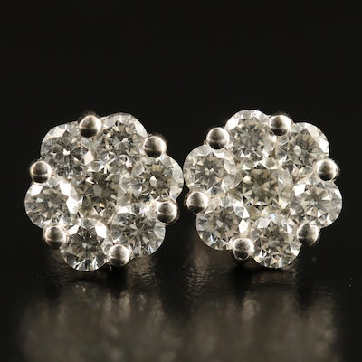 18K 1.54 CTW Diamond Cluster Stud Earrings
