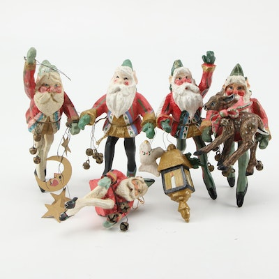 Holiday Christmas Resin Santa Ornaments, Late 20th Century