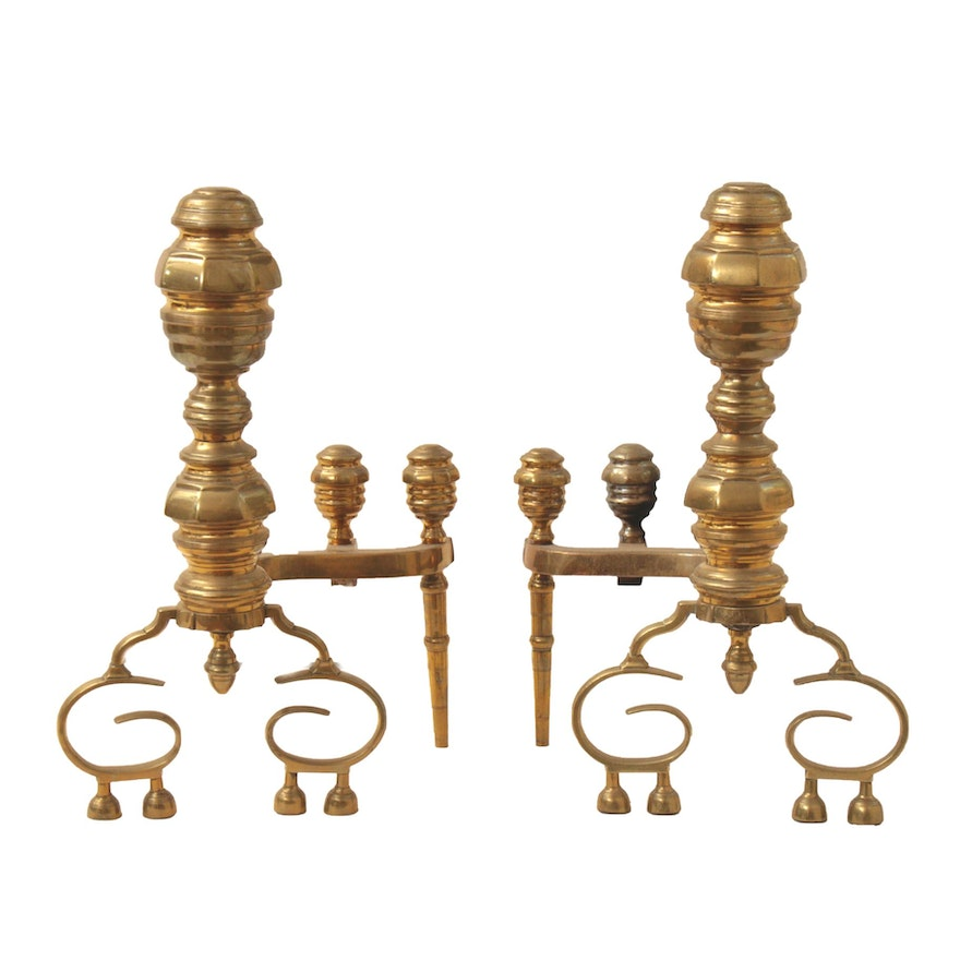 American Federal Brass and Iron Andirons, circa 1825