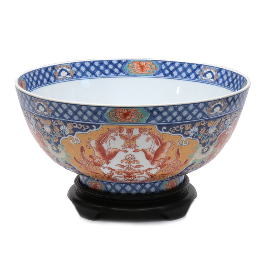 Maitland-Smith Chinese Hand-Painted Porcelain Bowl with Stand