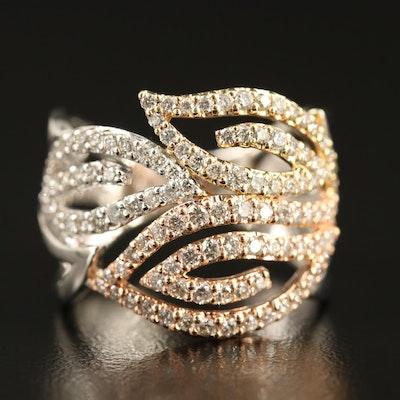 Gabriel & Co. 14K Tri-Color 1.21 CTW Diamond Open Leaf Ring