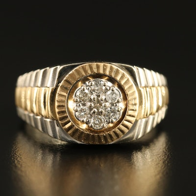 14K Diamond Watch Band Ring