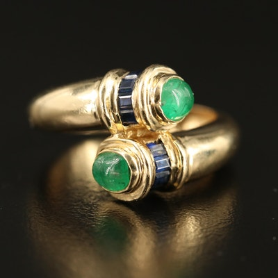 14K Emerald and Sapphire Bypass Ring
