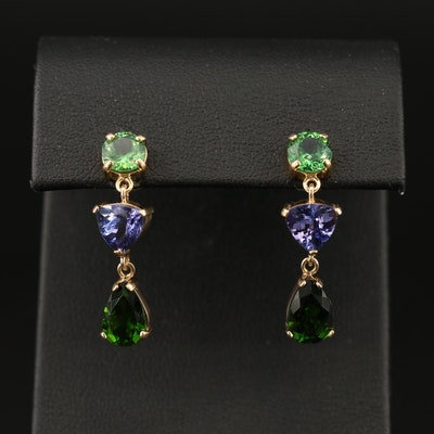18K Tsavorite, Tanzanite and Diopside Dangle Earrings