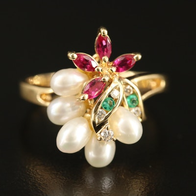 18K Ruby, Emerald, Pearl and Diamond Flower Ring