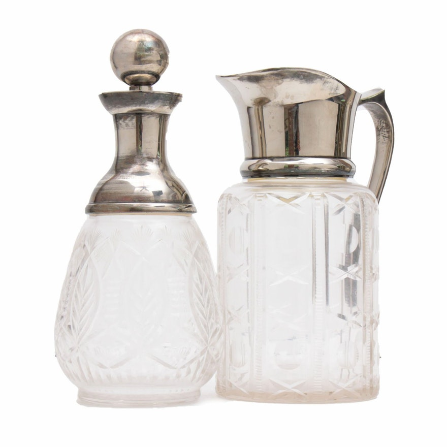 Cut Glass Water Ewer and Decanter with Silver Tone Accents