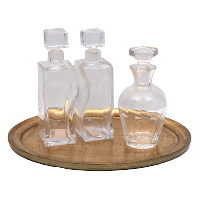 Pottery Barn Italian Florentine Tray and Glass Decanters