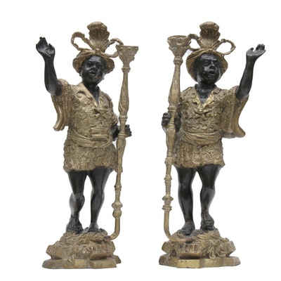 Pair of French Doré Bronze and Ebony Blackamoor Candlesticks, Mid-20th Century